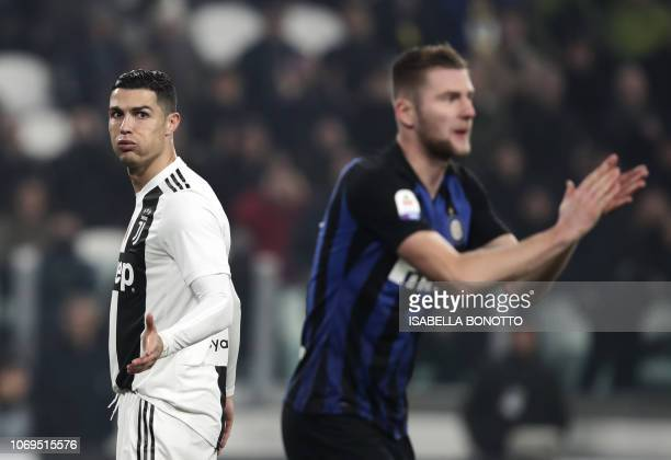 Juventus' Portuguese forward Cristiano Ronaldo gestures during the Serie A soccer match Juventus vs InterMilan at the Stadio delle Alpi in Turin on...