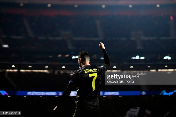 Juventus' Portuguese forward Cristiano Ronaldo gestures during the UEFA Champions League round of 16 first leg football match between Club Atletico...