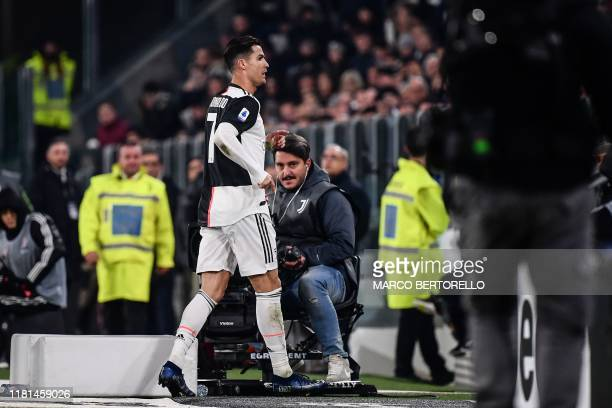 Juventus' Portuguese forward Cristiano Ronaldo goes directly to the changing rooms after being substituted during the Italian Serie A football match...