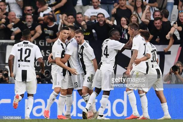 Juventus' Portuguese forward Cristiano Ronaldo Juventus' Bosnian midfielder Miralem Pjanic Juventus' French midfielder Blaise Matuidi and Juventus'...