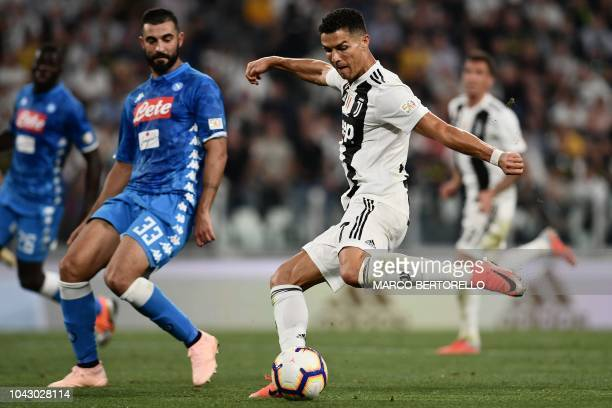 Juventus' Portuguese forward Cristiano Ronaldo kicks the ball during the Italian Serie A football match Juventus vs Napoli on September 29 2018 at...