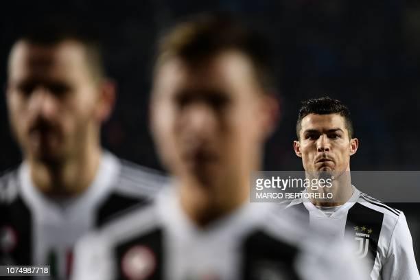 Juventus' Portuguese forward Cristiano Ronaldo leaves the pitch at the end of the Italian Serie A football Match Atalanta Bergamo vs Juventus on...