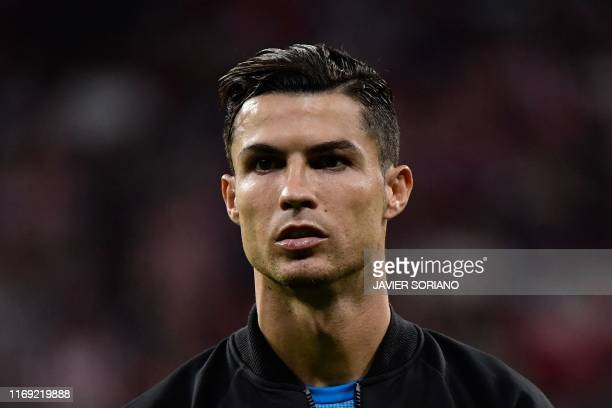 Juventus' Portuguese forward Cristiano Ronaldo looks on before the UEFA Champions League Group D football match between Atletico Madrid and Juventus,...
