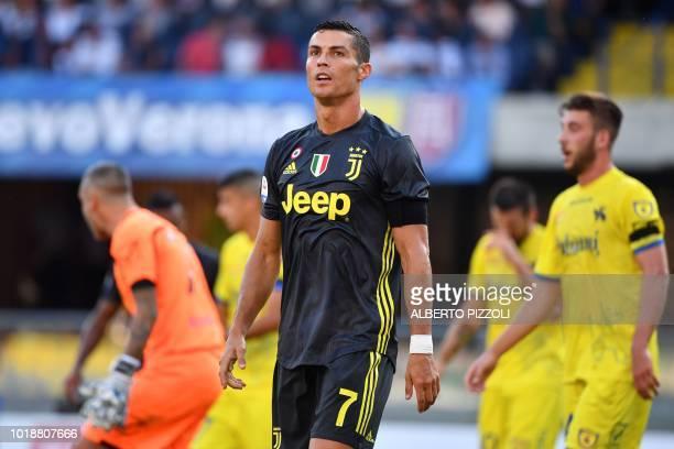 Juventus' Portuguese forward Cristiano Ronaldo looks on during the Italian Serie A football match AC Chievo vs Juventus at the MarcantonioBentegodi...
