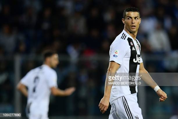 Juventus' Portuguese forward Cristiano Ronaldo looks on during the Italian Serie A football match Empoli vs Juventus on October 27 2018 at the Carlo...