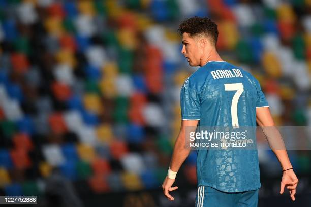 Juventus' Portuguese forward Cristiano Ronaldo looks on during the Italian Serie A football match between Udinese and Juventus on July 23 at the...