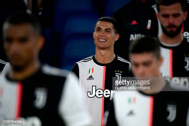 Juventus' Portuguese forward Cristiano Ronaldo reacts after Juventus lost the TIM Italian Cup final football match Napoli vs Juventus on June 17 2020...