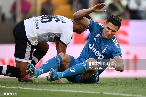 Juventus' Portuguese forward Cristiano Ronaldo reacts after missing a goal opportunity during the Italian Serie A football match Parma vs Juventus on...