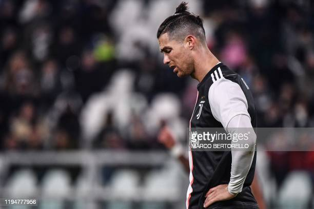 Juventus' Portuguese forward Cristiano Ronaldo reacts after missing a goal opportunity during the Italian Serie A football match Juventus vs Parma on...