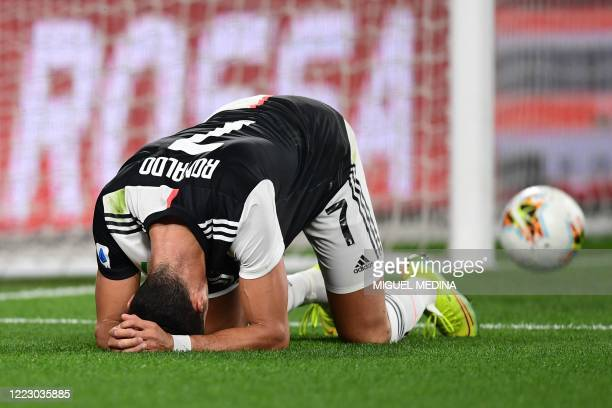 Juventus' Portuguese forward Cristiano Ronaldo reacts after missing a goal opportunity during the Italian Serie A football match Juventus vs Lecce...