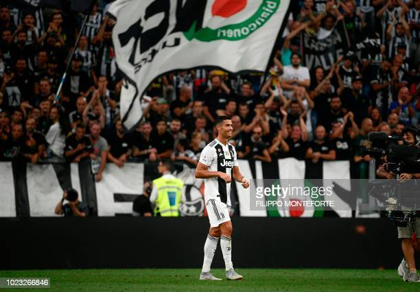 Juventus' Portuguese forward Cristiano Ronaldo reacts after the Italian Serie A football match Juventus vs Lazio on August 25 2018 at the Allianz...