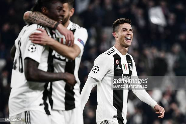 Juventus' Portuguese forward Cristiano Ronaldo reacts at the end of the UEFA Champions League round of 16 secondleg football match Juventus vs...