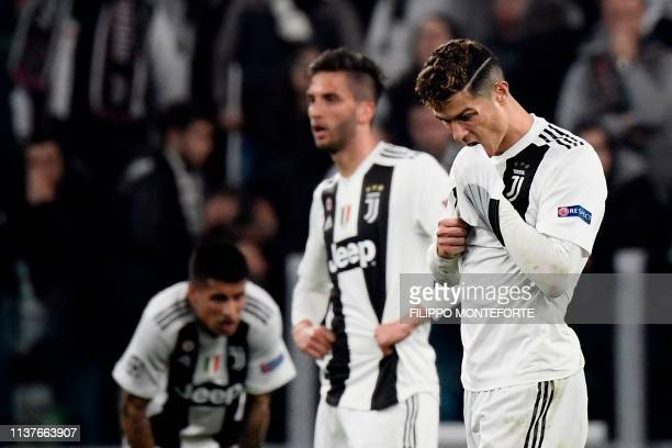 Juventus' Portuguese forward Cristiano Ronaldo reacts at the end of the UEFA Champions League quarterfinal second leg football match Juventus vs Ajax...