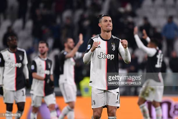 Juventus' Portuguese forward Cristiano Ronaldo reacts at the end of the Italian Serie A football match Juventus vs Parma on January 19 2020 at the...