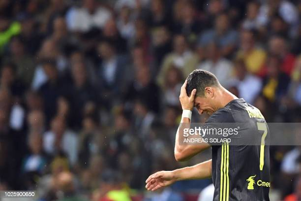 Juventus' Portuguese forward Cristiano Ronaldo reacts during the Italian Serie A football match Parma vs Juventus on September 1 2018 at Ennio...