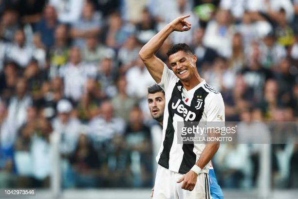 Juventus' Portuguese forward Cristiano Ronaldo reacts during the Italian Serie A football match Juventus vs Napoli on September 29 2018 at the...