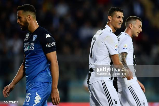 Juventus' Portuguese forward Cristiano Ronaldo reacts during the Italian Serie A football match Empoli vs Juventus on October 27 2018 at the Carlo...