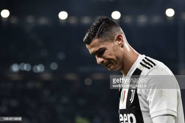 Juventus' Portuguese forward Cristiano Ronaldo reacts during the Italian Serie A football match Juventus vs Spal 2013 on November 24 2018 at the...