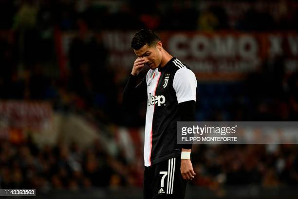 Juventus' Portuguese forward Cristiano Ronaldo reacts during the Italian Serie A football match between AS Roma and Juventus Turin at the Olympic...