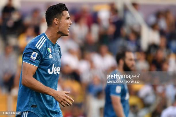 Juventus' Portuguese forward Cristiano Ronaldo reacts during the Italian Serie A football match Parma vs Juventus on August 24 2019 at the...