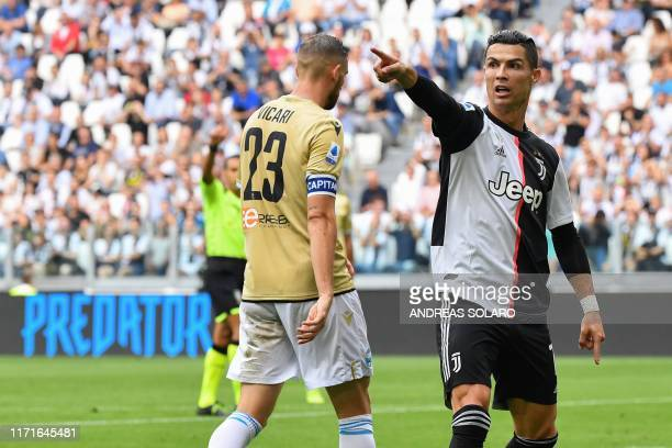 Juventus' Portuguese forward Cristiano Ronaldo reacts during the Italian Serie A football match Juventus vs Spal on September 28 2019 at the Juventus...