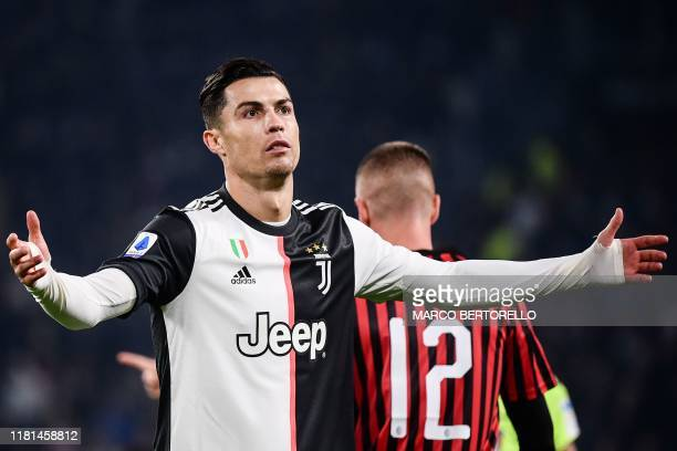 Juventus' Portuguese forward Cristiano Ronaldo reacts during the Italian Serie A football match Juventus vs AC Milan on November 10, 2019 at the...