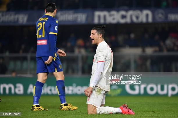 Juventus' Portuguese forward Cristiano Ronaldo reacts during the Italian Serie A football match Hellas Verona vs Juventus on February 8 at the...