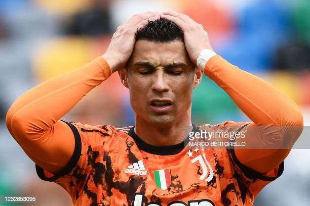 Juventus' Portuguese forward Cristiano Ronaldo reacts during the Italian Serie A football match between Udinese and Juventus at the Dacia Arena...