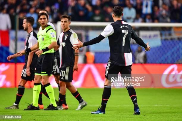 Juventus' Portuguese forward Cristiano Ronaldo reacts during the Supercoppa Italiana final football match between Juventus and Lazio at the King Saud...