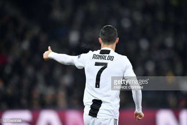 Juventus' Portuguese forward Cristiano Ronaldo reacts during the UEFA Champions League group H football match between Young Boys and Juventus at the...