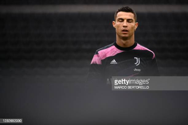 Juventus' Portuguese forward Cristiano Ronaldo reacts during the warm up before the Italian Serie A football match between Udinese and Juventus at...
