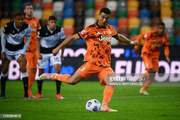 Juventus' Portuguese forward Cristiano Ronaldo scores a goal during the Italian Serie A football match between Udinese and Juventus on May 2 at the...