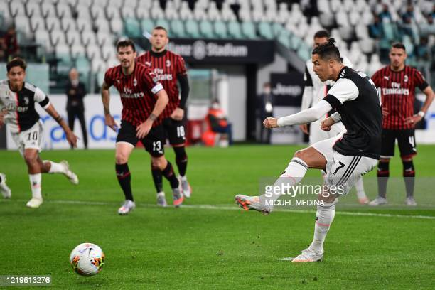 Juventus' Portuguese forward Cristiano Ronaldo shoots to miss a penalty during the Italian Cup semifinal second leg football match Juventus vs AC...