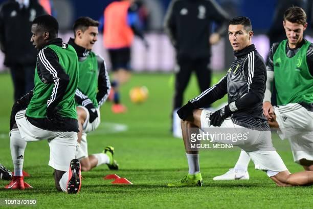 Juventus' Portuguese forward Cristiano Ronaldo stretches prior to the Italian Tim Cup round of eight football match Atalanta Bergamo vs Juventus on...