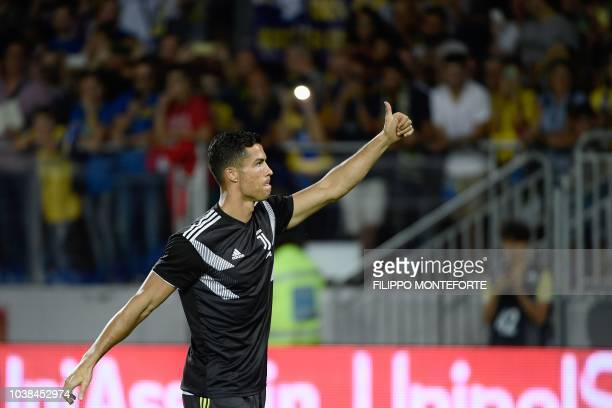 23rd September 2018 Stadio Benito Stirpe Frosinone Italy Serie A football Frosinone versus Juventus Federico Bernardeschi of Juventus celebrates with...