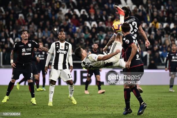 Juventus' Portuguese forward Cristiano Ronaldo tries to score during the Italian Serie A football match Juventus vs Cagliari at the Juventus Allianz...