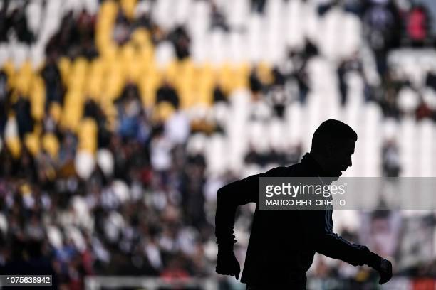 Juventus' Portuguese forward Cristiano Ronaldo warms up prior to the Italian Serie A football match Juventus vs Sampdoria on December 29 2018 at the...