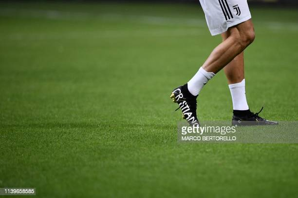 Juventus' Portuguese forward Cristiano Ronaldo's new football shoes are pictured prior to the Italian Serie A football match between Inter Milan and...