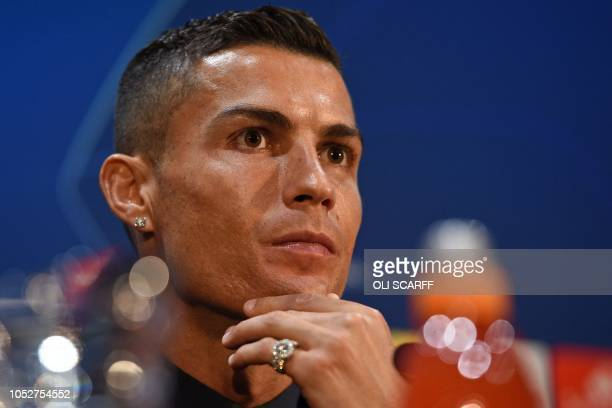 Juventus' Portuguese striker Cristiano Ronaldo attends a press conference at Old Trafford in Manchester north west England on October 22 on the eve...