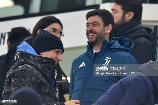 Juventus President Andrea Agnelli and Chairman of Fiat John Elkann attend the serie A match between Juventus and AS Roma at Allianz Stadium on...