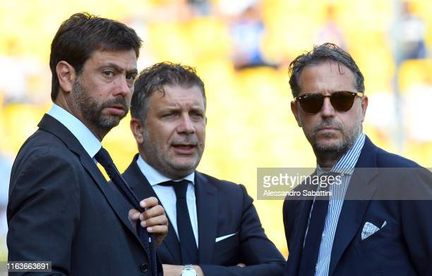 Juventus President Andrea Agnelli and Juventus Sports Director Fabio Paratici talk during the Serie A match between Parma Calcio and Juventus at...