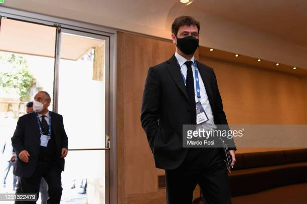 Juventus President Andrea Agnelli attends the FIGC Elective Assembly at Cavalieri Waldorf Astoria Hotel on February 21, 2021 in Rome, Italy.