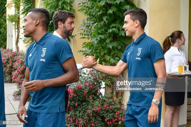 Juventus President Andrea Agnelli cheers Paulo Dybala before the preseason friendly match between Juventus A and Juventus B on August 17 2017 in...