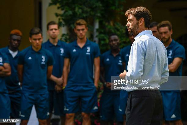 Juventus President Andrea Agnelli delivres a speech before the preseason friendly match between Juventus A and Juventus B on August 17 2017 in Villar...