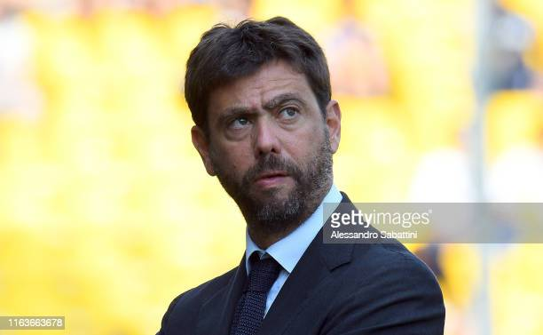 Juventus President Andrea Agnelli looks on during the Serie A match between Parma Calcio and Juventus at Stadio Ennio Tardini on August 24, 2019 in...