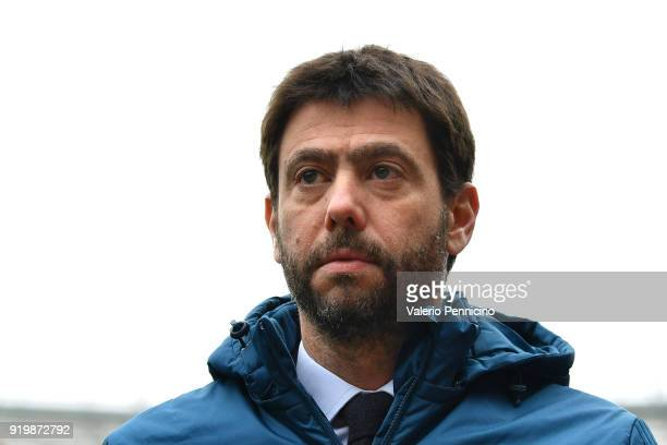 Juventus president Andrea Agnelli looks on during the Serie A match between Torino FC and Juventus at Stadio Olimpico di Torino on February 18, 2018...