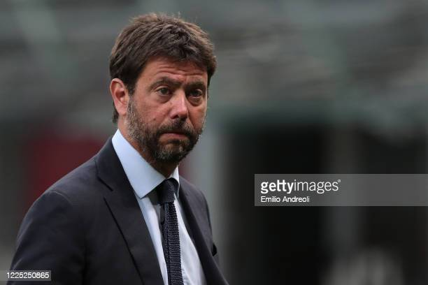 Juventus president Andrea Agnelli looks on prior to the Serie A match between AC Milan and Juventus at Stadio Giuseppe Meazza on July 7, 2020 in...