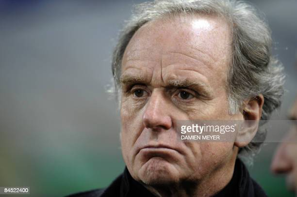 Juventus' president Giovanni Cobolli Gigli watches his team's Italian Serie A football match against Udinese on January 28 2009 at Friuli Stadium in...