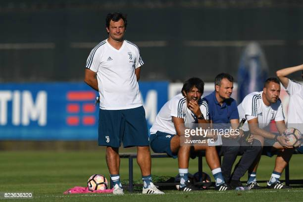 Juventus second team head coach Corrado Grabbi looks on during the joint training Juventus second team v Pro Vercelli on July 27 2017 in Turin Italy