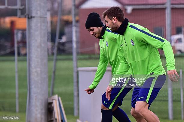 Juventus Spanish foward Fernando Llorente and Juventus Spanish forward Alvaro Morata attend a training session on the eve of the UEFA Champions...